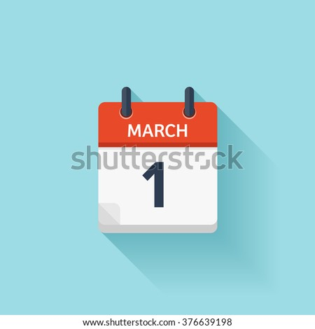 March 1. Vector flat daily calendar icon. Date and time, day, month. Holiday. - stock vector