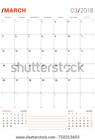 March 2018 Vector Print Template Monthly Stock Photo Photo Vector