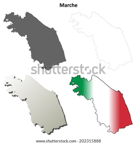 Marche blank detailed outline map set - vector version