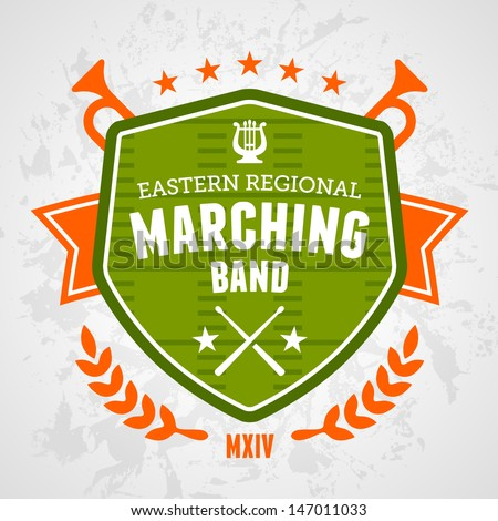 Marching band drum corp emblem logo badge design