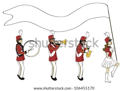 Cartoon Marching Band Marching Band With a Blank