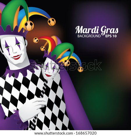 Mardi Gras background. EPS 10 vector, grouped for easy editing. No open shapes or paths. - stock vector