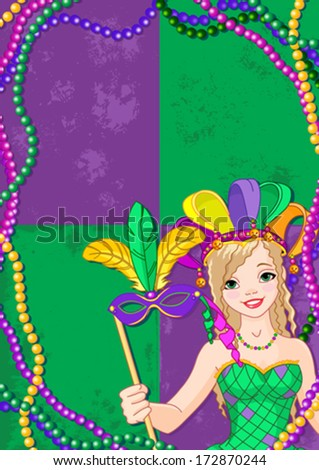 Mardi Gras Banner with beautiful girl holding mask - stock vector