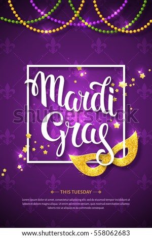 Mardi gras brochure vector logo hand stock vector 558062683 mardi gras brochure vector logo with hand drawn lettering and golden fat tuesday mask m4hsunfo Images