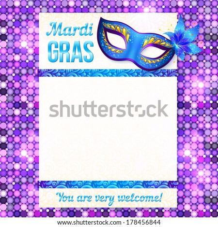 Mardi gras carnival vector poster template - stock vector