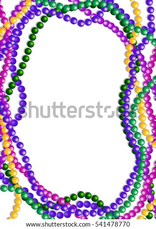 Mardi Gras Colorful Beads Background Place Stock Vector (Royalty ...