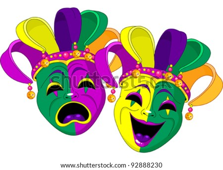 Mardi Gras Comedy and  Tragedy Masks - stock vector
