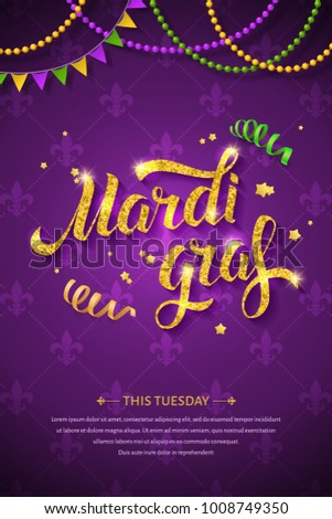 Mardi gras logo golden hand written stock vector 1008749350 mardi gras logo with golden hand written lettering ribbons beads and stars on traditional m4hsunfo
