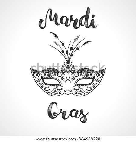 Mardi Gras mask and hand lettering calligraphic text Mardi Gras. Black and white carnival mask for a masquerade. Party mask for carnival in New Orlean, Shrove Tuesday, Fat Tuesday. - stock vector