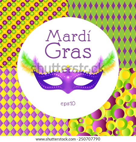 Mardi Gras. Mask, feathers, seamless pattern background. - stock vector