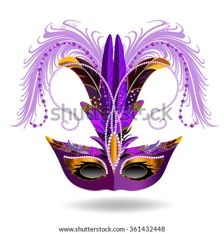 Mardi Gras mask isolated on white. Purple carnival mask decorated with a plume of feathers. - stock vector