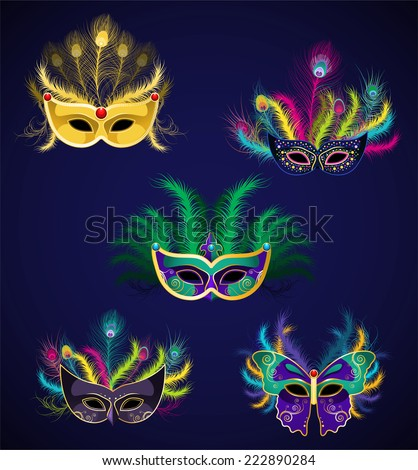 mardi gras masks illustrations collection - stock vector