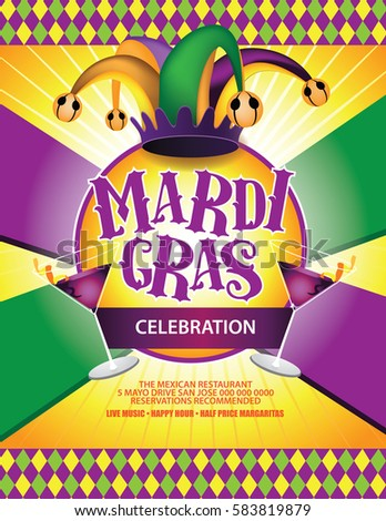 Mardi Gras Poster Design Marketing Advertising Stock Vector
