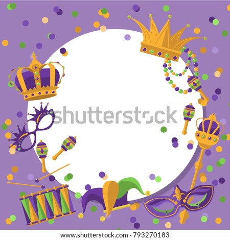 Mardi Gras Round Frame Template Space Stock Vector (Royalty Free ...