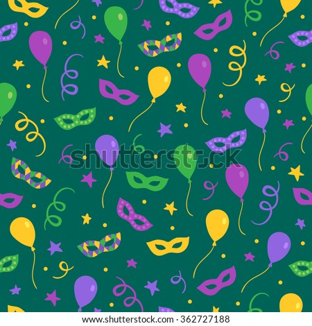 Mardi Gras seamless pattern with carnival masks, ribbons, balloons, sparkles and stars. Perfect for wallpaper, pattern fills, web page background, textile, holiday greeting cards - stock vector