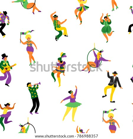 Mardi gras. Seamless pattern with funny dancing men and women in bright costumes. Design element for carnival concept and other users