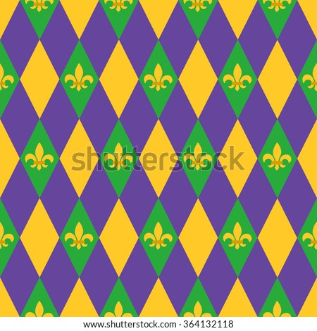 Mardi Gras seamless pattern with harlequin pattern and fleur-de-lis symbol. Perfect for wallpaper, pattern fills, web page background, textile, holiday greeting cards - stock vector