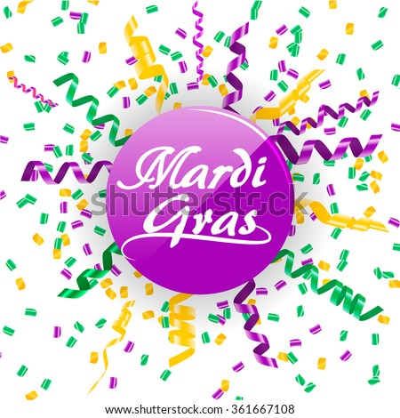 Mardi Gras sign with confetti and streamers in traditional colors: purple, green and yellow. Festive icon for carnival celebration, vector illustration - stock vector