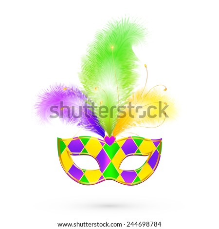 Mardi Gras traditional colors vector mask - stock vector