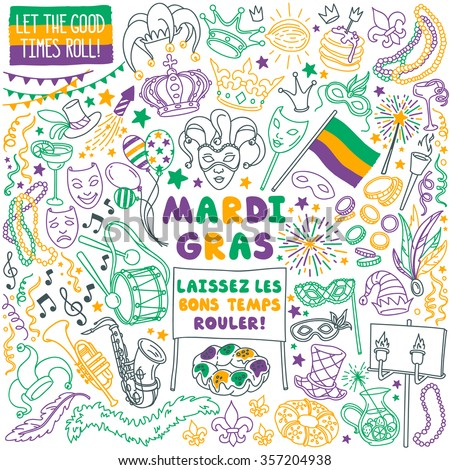 "Mardi Gras traditional symbols collection - carnival masks, party decorations. Vector illustration isolated on white background. French ""Laissez Les Bons Temps Rouler"" means ""Let the good times roll"" - stock vector"