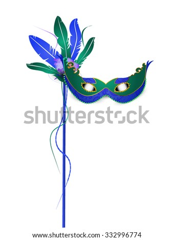 Mardi Grass Mask Isolated on White - stock vector