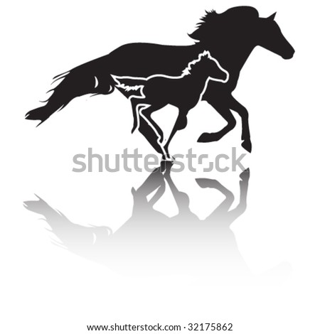 mare and foal vector - stock vector