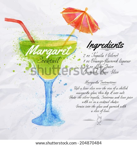 Margaret cocktails drawn watercolor blots and stains with a spray, including recipes and ingredients on the background of crumpled paper - stock vector