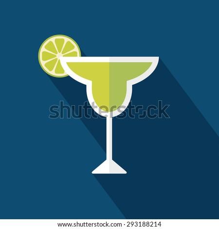 Margarita cocktail icon. Flat design. Vector illustration - stock vector