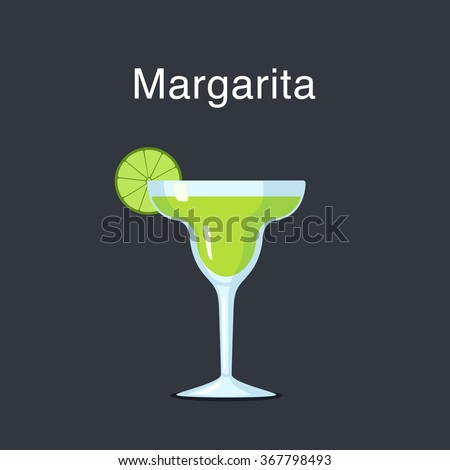 Margarita cocktail in a  glass with slice of lime on a dark background vector illustration