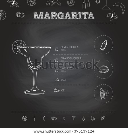 Margarita. Cocktail infographic set. Vector illustration