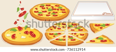 Margarita Pizza Kit. Traditional Ingredients: Pizza Box, Whole and Slice Pizzas. Vector Illustration. Editable Icon Set