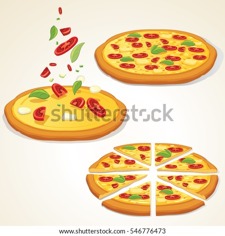 Margarita Pizza Kit. Traditional Ingredients, Tasty Whole and Slice Pizzas. Vector Illustration. Editable Icon Set