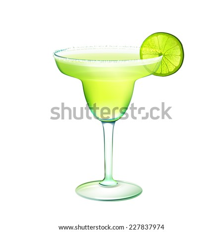 Margarita realistic cocktail in glass with lime slice isolated on white background vector illustration - stock vector