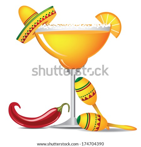 Margarita with sombrero, jalape�±o and maracas EPS 10 vector, grouped for easy editing. No open shapes or paths. - stock vector