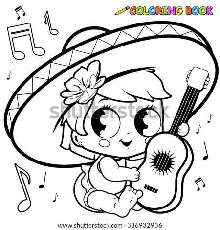 mariachi baby girl playing guitar coloring stock vector 336932936 ... - Baby Girl Coloring Pages Kids