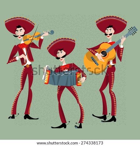Mariachi band. Mexican traditions. Vector illustration
