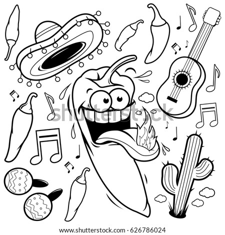 mariachi chili pepper mexican collection black and white coloring book page