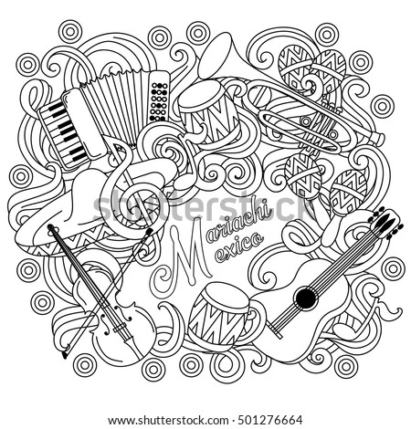 mariachi mexico festive sketch background cartoon vector hand drawn doodle illustration