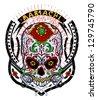 Mariachi skull - stock vector