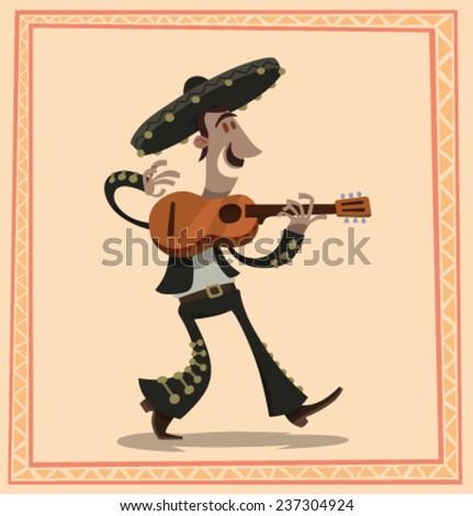 Mariachi with a guitar, vector - stock vector