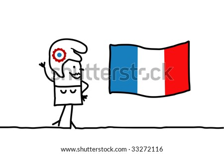 Marianne and France flag - stock vector