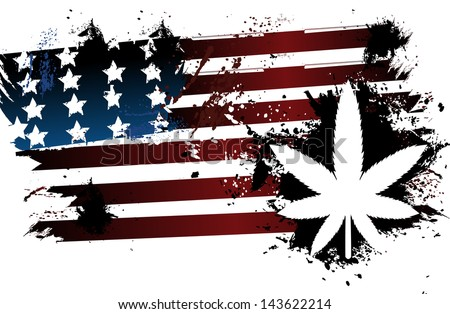 Marijuana American Flag - stock vector