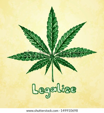 Marijuana (cannabis). Hemp leaf in a sketch style. Hand-drawn vector illustration. - stock vector