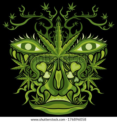 Marijuana face character vector illustration - stock vector