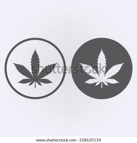 Marijuana leaf icon set in circle . Vector illustration - stock vector