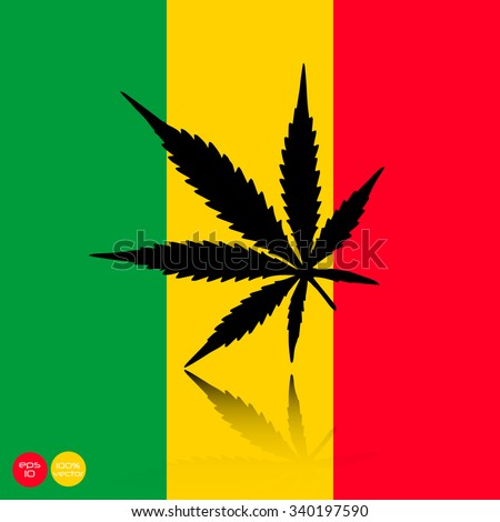 Marijuana Leaf Silhouette Rasta Background Cannabis Stock Vector