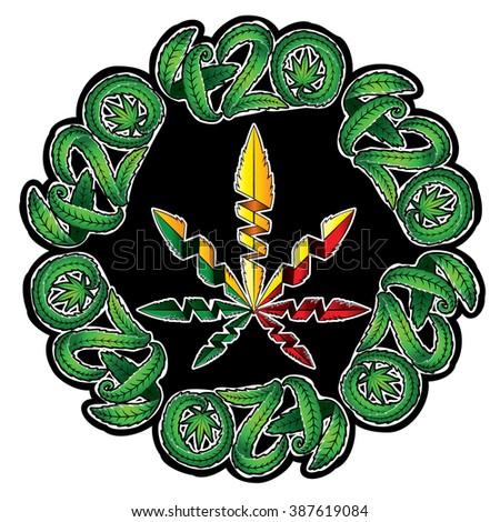 Marijuana leaf symbol stamps vector illustration - stock vector