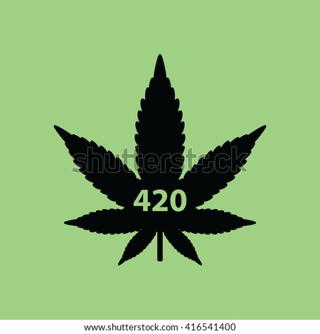 Marijuana leaf with 420 symbol on green background vector illustration - stock vector