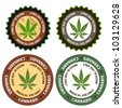 Marijuana or cannabis vector stamp set - stock