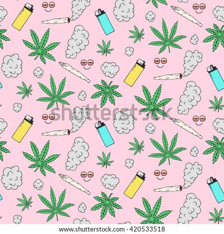 Marijuana seamless vector pattern - stock vector